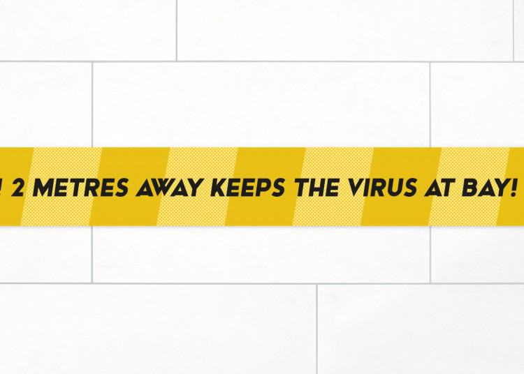 Adesivo per pavimenti  150 x 5 cm | giallo »2 metres away keeps the virus at bay«