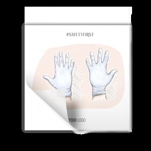 Adesivo 15 x 15 cm | Disegno - Guanti