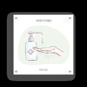 Insegna 15 x 15 cm | Disegno - Disinfettare