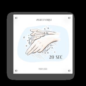 Insegna 15 x 15 cm | Disegno - Lavarsi le mani