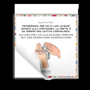 Adesivo 15 x 15 cm | Fiore - Lavarsi le mani (de/it)