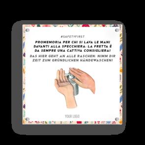 Insegna 15 x 15 cm | Fiore - Lavarsi le mani (de/it)