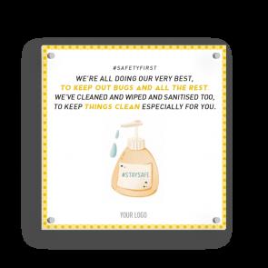 Insegna 15 x 15 cm | giallo - Disinfettare (en)