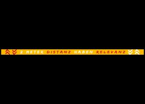Adesivo per pavimenti 150 x 5 cm | Typo »2 Meter Distanz haben Revefanz«