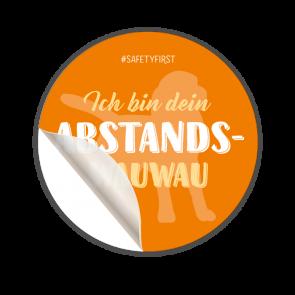 Adesivo per pavimenti Ø 30 cm | Typo »Ich bin dein Abstands-Wauwau«