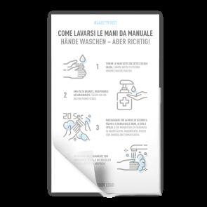 Adesivo 15 x 25 cm | Icon - Istruzioni come lavarsi le mani (de/it)