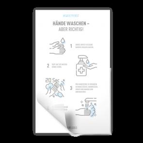 Adesivo 15 x 25 cm | Icon - Istruzioni come lavarsi le mani (de)