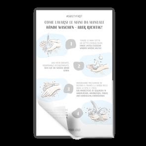 Adesivo 15 x 25 cm | Disegno - Istruzioni come lavarsi le mani (de/it)