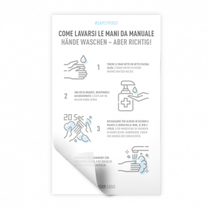 Adesivo 30 x 50 cm   Icon - Istruzioni come lavarsi le mani (de/it)