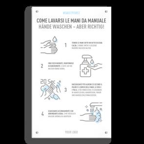 Insegna 30 x 50 cm | Icon - Istruzioni come lavarsi le mani (de/it)