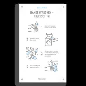 Insegna 30 x 50 cm | Icon - Istruzioni come lavarsi le mani (de)