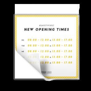 Adesivo 15 x 15 cm | giallo - Orario di apertura (en)