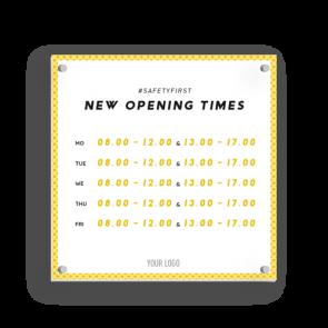 Insegna 15 x 15 cm | giallo - Orario di apertura (en)