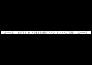 Adesivo per pavimenti 150 x 5 cm | Icon »Bitte Mindestabstand einhalten«