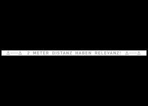 Adesivo per pavimenti 150 x 5 cm | Icon »2 Meter Distanz haben Relevanz«