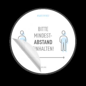 Adesivo per pavimenti Ø 30 cm | Icon »Bitte Mindestabstand einhalten«