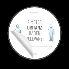 Adesivo per pavimenti Ø 30 cm | Icon »2 Meter Distanz haben Relevanz«