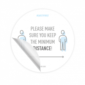 Adesivo per pavimenti Ø 30 cm | Icon »Please make sure you keep the minimum distance«