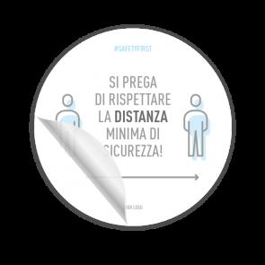 Adesivo per pavimenti Ø 30 cm | Icon »Si prega di rispettare la distanza minima di sicurezza«