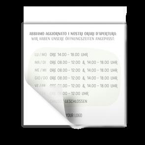 Adesivo 15 x 15 cm | Disegno - Orario di apertura (de/it)
