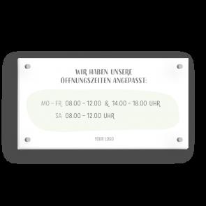 Insegna 21 x 11 cm | Disegno - Orario di apertura (de)