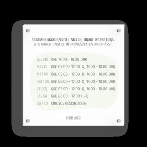 Insegna 15 x 15 cm | Disegno - Orario di apertura (de/it)