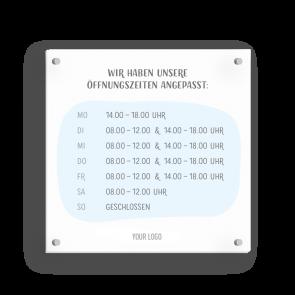 Insegna 15 x 15 cm | Disegno - Orario di apertura (de)