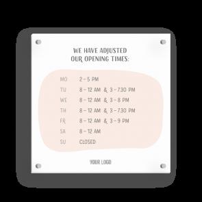 Insegna 15 x 15 cm | Disegno - Orario di apertura (en)