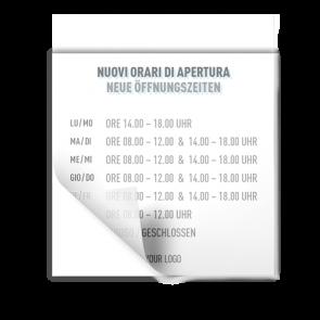 Adesivo 15 x 15 cm | Icon - Orario di apertura (de/it)