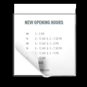 Adesivo 15 x 15 cm | Icon - Orario di apertura (en)
