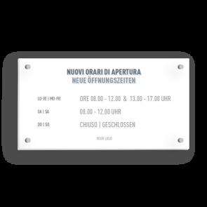 Insegna 21 x 11 cm | Icon - Orario di apertura (de/it)