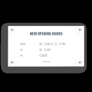Insegna 21 x 11 cm | Icon - Orario di apertura (en)