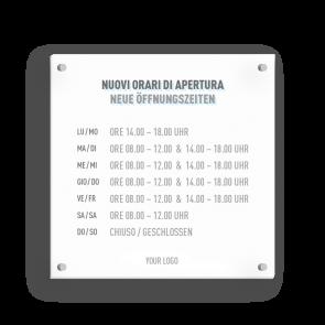 Insegna 15 x 15 cm | Icon - Orario di apertura (de/it)
