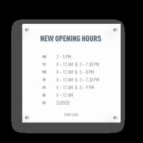 Insegna 15 x 15 cm | Icon - Orario di apertura (en)