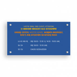 Insegna 21 x 11 cm | Typo - Orario di apertura (de/it)