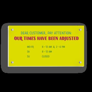 Insegna 21 x 11 cm | Typo - Orario di apertura (en)