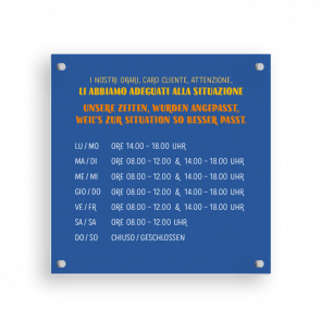 Insegna 15 x 15 cm | Typo - Orario di apertura (de/it)