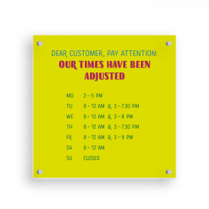 Insegna 15 x 15 cm | Typo - Orario di apertura (en)