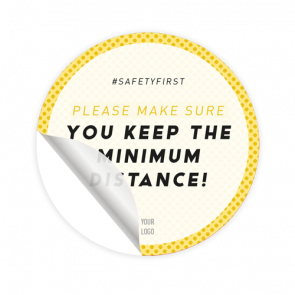 Adesivo per pavimenti Ø 30 cm | giallo »Please make sure you keep the minimum distance!«