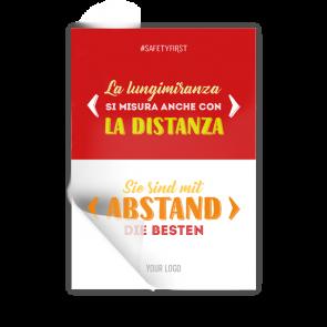Adesivo 14,8 x 21 | Typo »La lungimiranza si misura anche con la distanza« (it/de)