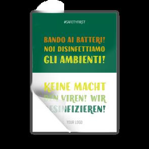 Adesivo 14,8 x 21 | Typo »Bando ai batteri! Noi disinfettiamo gli ambienti« (it/de)