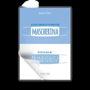 Adesivo 14,8 x 21 | Typo »Accesso consentito soltanto con mascherina« (it/de)