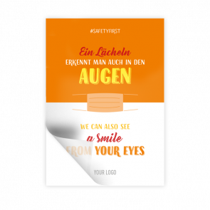 Adesivo 14,8 x 21 | Typo »Ein Lächeln erkennt man auch in den Augen« (de/en)