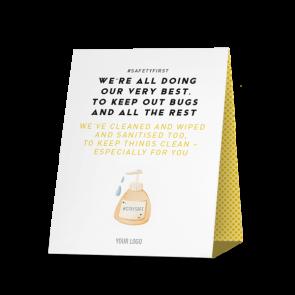 Espositore da banco 20 x 25 cm | giallo - Pulizia camera anti virus (en)