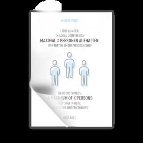 Adesivo 14,8 x 21 | Icon - Numero max. di persone (de/en)